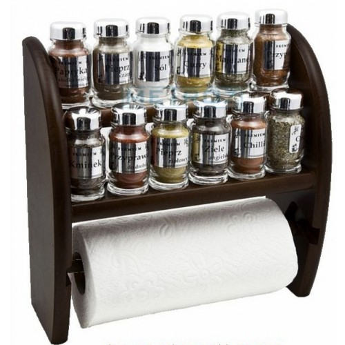 Półka na 12 przypraw drewniana z ręcznikiem papierowym ciemno brązowa ze srebrnymi zakrętkami