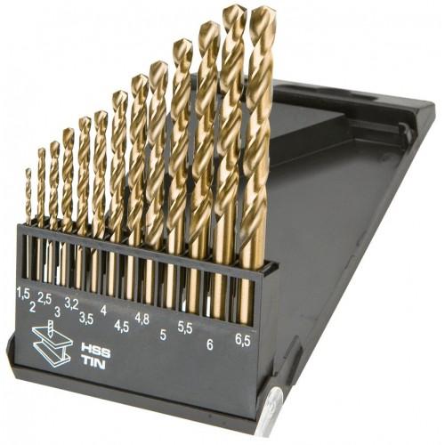 Wiertła do metalu HSS-TiN 1.5-6.5mm, zestaw 13szt