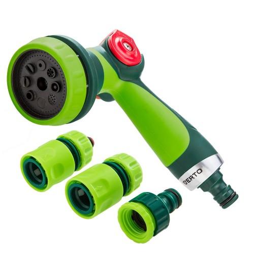 Zraszacz pistoletowy 8-funkcyjny z regulacją strumienia wody + złączki