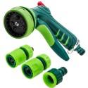 Zraszacz pistoletowy 7-funkcyjny z regulacją strumienia wody + złączki