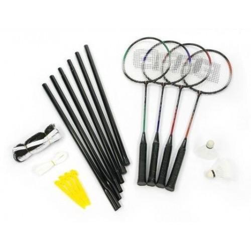 Zestaw do gry w badmintona, 4 rakietki + lotki + siatka