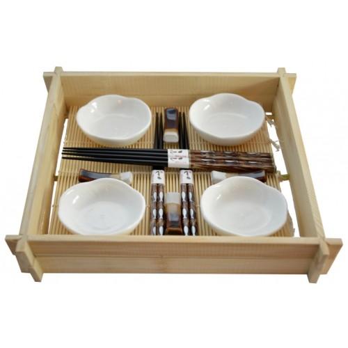 Zestaw do sushi dla 4os. miseczki + pałeczki + mata, 781762