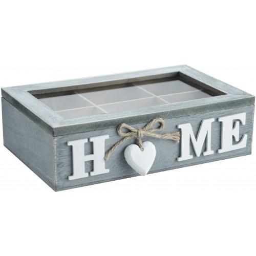 Drewniane pudełko na herbatę 6 przegródek 24x15x7cm, 790276