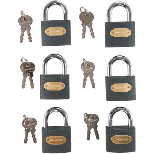 Żeliwna kłódka z systemem jednego klucza 50mm, 6szt, 407238
