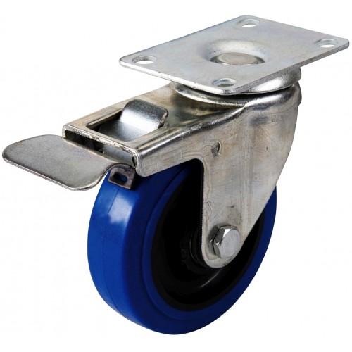 Kółko skrętne gumowe z hamulcem niebieskie 100mm, 140kg,