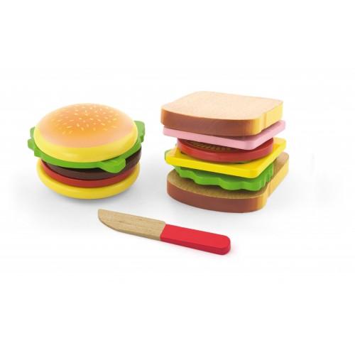 Zestaw do krojenia – hamburger i kanapka 50810 Viga