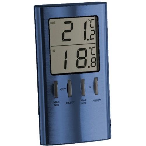 Termometr elektroniczny LCD szczotkowany niebieski