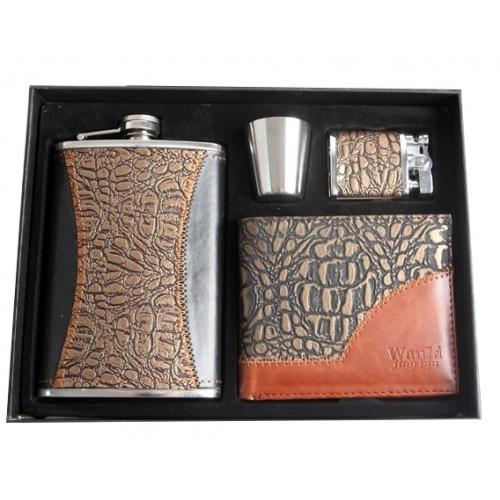 Komplet piersiówka z portfelem i zapalniczką