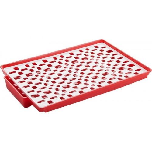 Taca z ociekaczem 41x27x3 cm czerwona