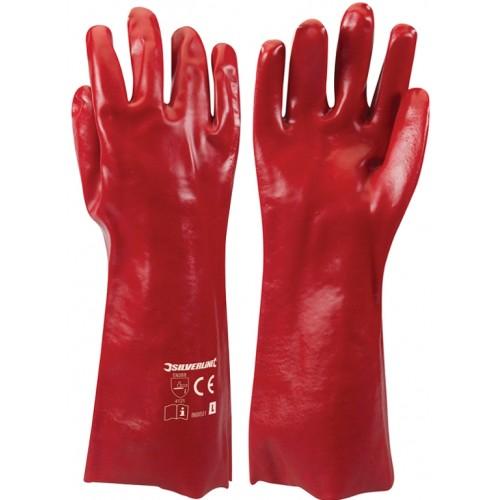 Długie, olejowe rękawice z PCV