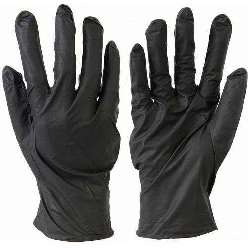 Mocne rękawiczki nitrylowe czarne M
